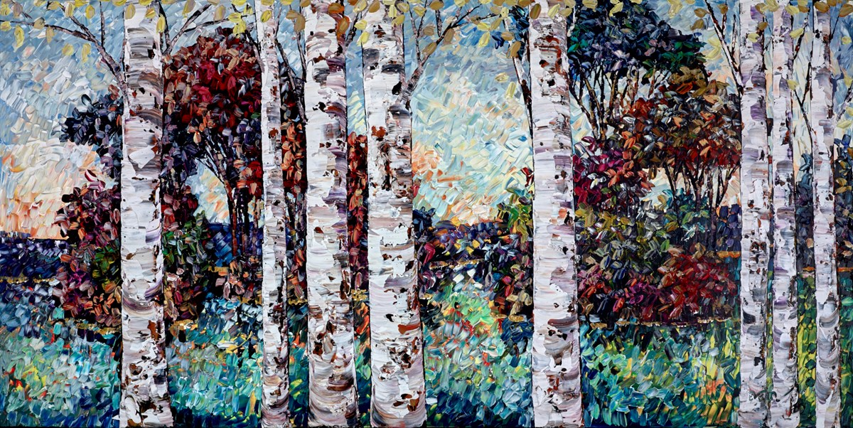 Between the Birch Trees III by maya eventov -  sized 72x36 inches. Available from Whitewall Galleries